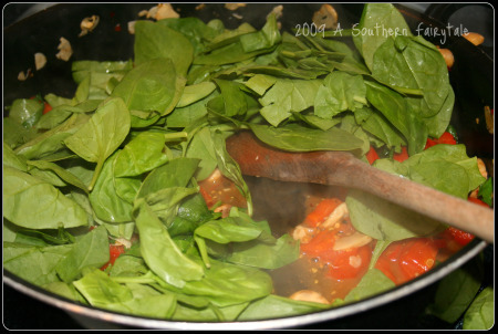 spinach in veggies for pasta