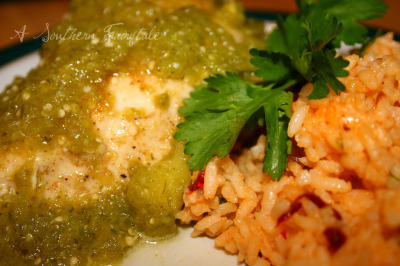 Cumin Garlic Chicken with Tomatillo Sauce and Chipotle Rice