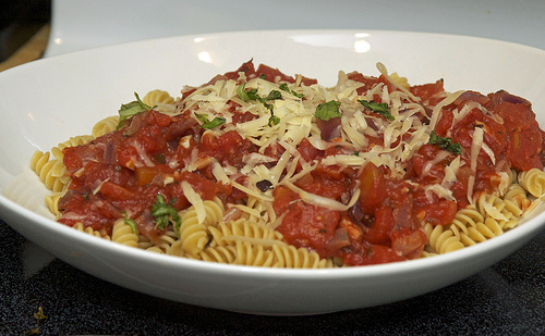 Quick and Easy Pasta with Herbed Diced Tomato Sauce