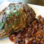 black bean fiesta and steak up top