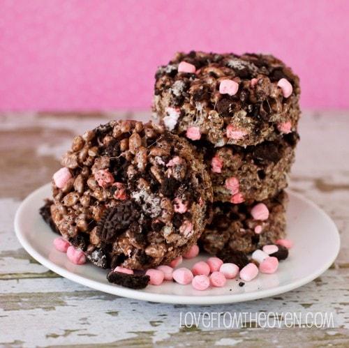 Peppermint Cookie Crunch Krispie Treats