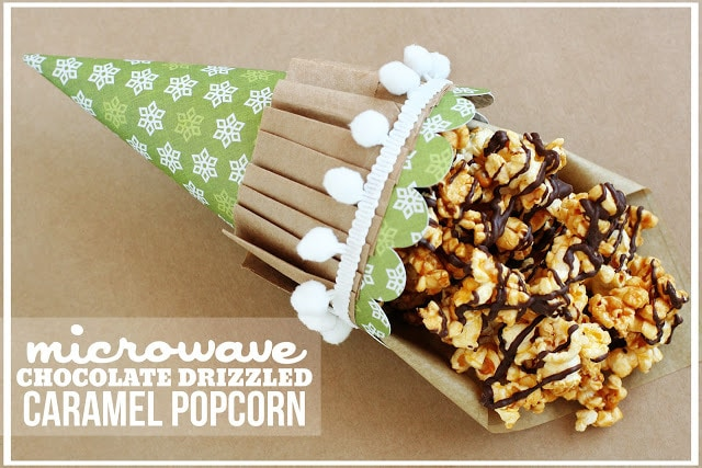 Microwave Chocolate Drizzled Caramel Popcorn