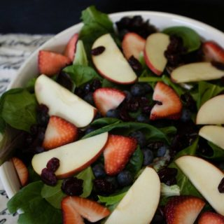 Leafy Green Salad with Fresh Fruit and a Homemade Savory Dijon Wine Vinaigrette