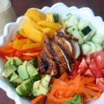 Mango and Teriyaki Chicken Salad with Ginger Poppyseed dressing-