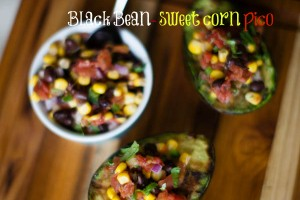 Grilled Avocados with Black Bean and Corn pico de gallo