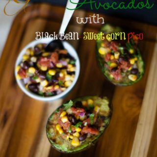 Grilled Avocados with Black Bean and Sweet Corn Pico de Gallo