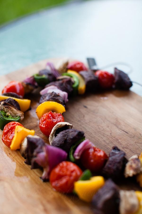 grilled veggie beef kabobs
