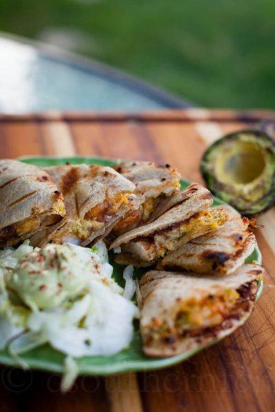 spicy shrimp and avocado quesadilla