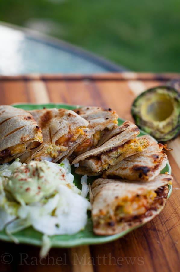spicy shrimp avocado quesadillas