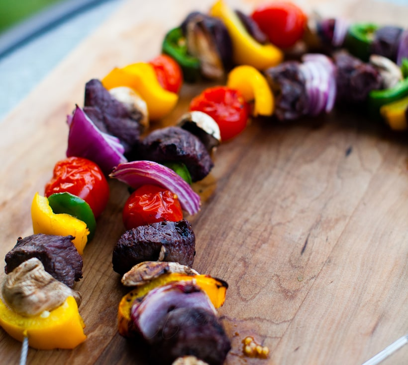 Tipsy Beef and Veggie Skewers