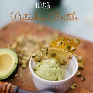 Creamy Avocado Custard with Candied Pistachio Brittle