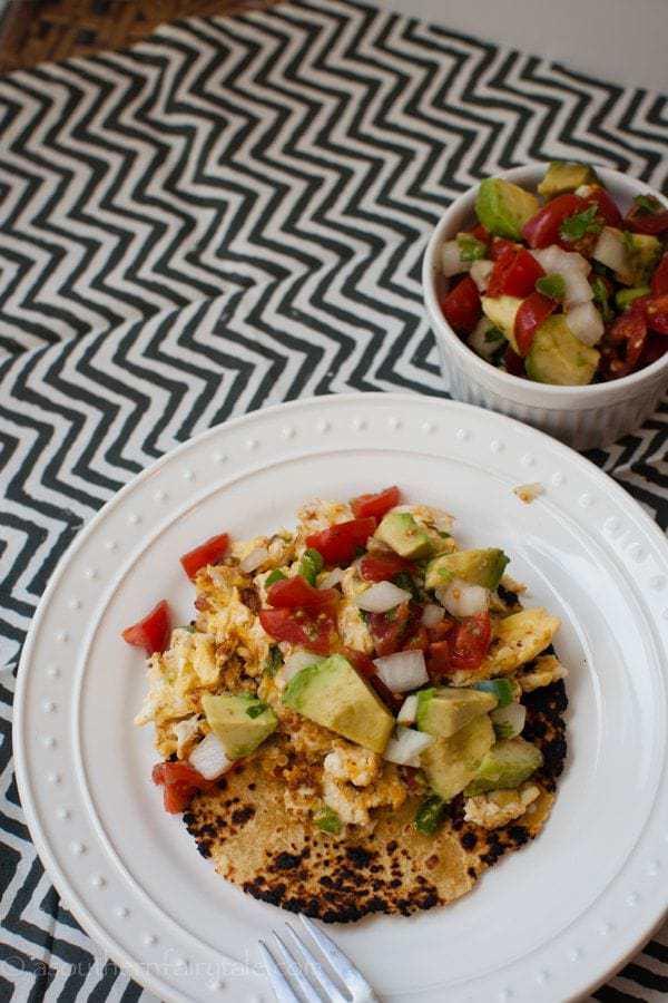 Chorizo Scramble with Charred Tortillas and Avocado Pico {de-constructed migas}