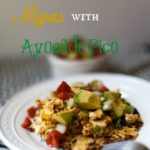 title charred tortilla with chorizo scrambled eggs and avo pico -3934