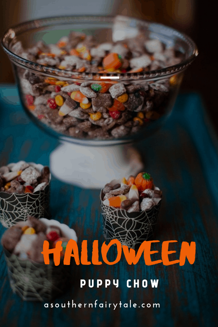 Halloween Puppy Chow is one of our favorite Fall Treats.  Filled with seasonal candies, powdered sugar, chex cereal, and some nutella and brownie mix - this is the ultimate Halloween chex mix   Asouthernfairytale.com  #halloween