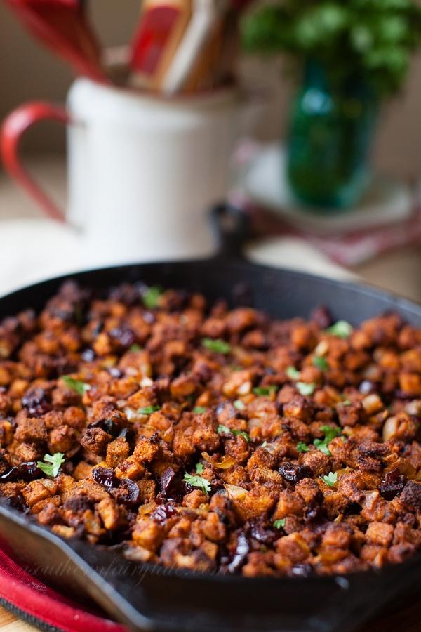 Cast iron baked spicy chorizo and poblano dressing