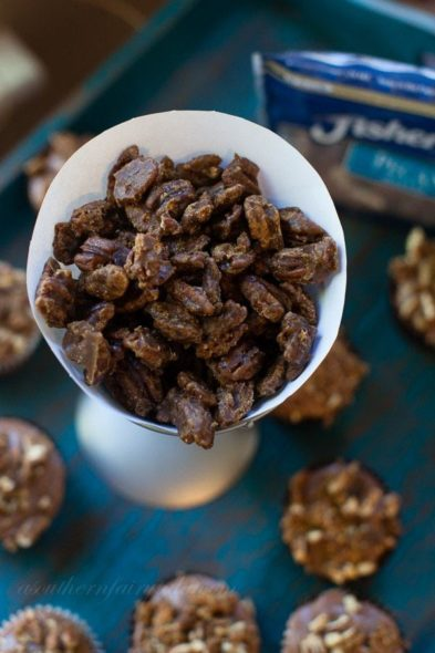 bourbon glazed candied pecans