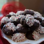 candy cane dipped dark chocolate cookies
