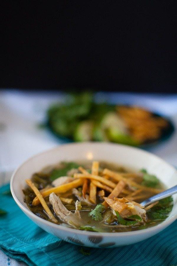 Lighter Chicken Poblano Soup