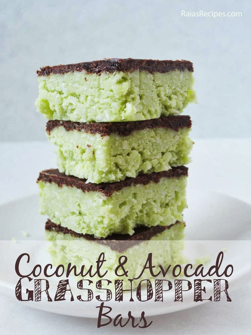 Coconut and Avocado Grasshopper Bars | Raia's Recipes