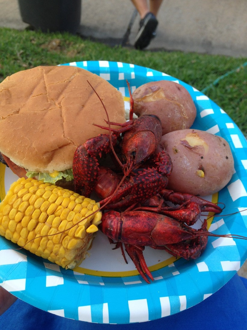 crawfish and burgers