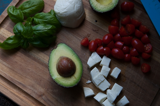 Avocado and Caprese Fixings for stuffed Avocados