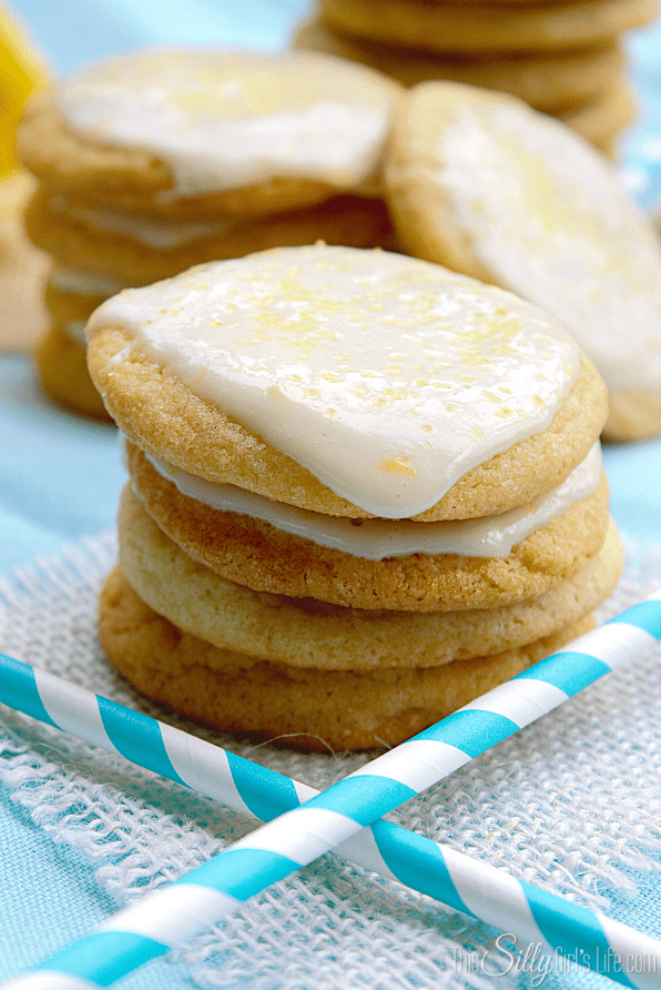 Lemon Cream Glazzed Chewy Sugar Cookies | This Silly Girl's Life