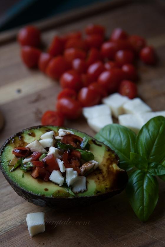 spicy balsamic glazed caprese stuffed avocado
