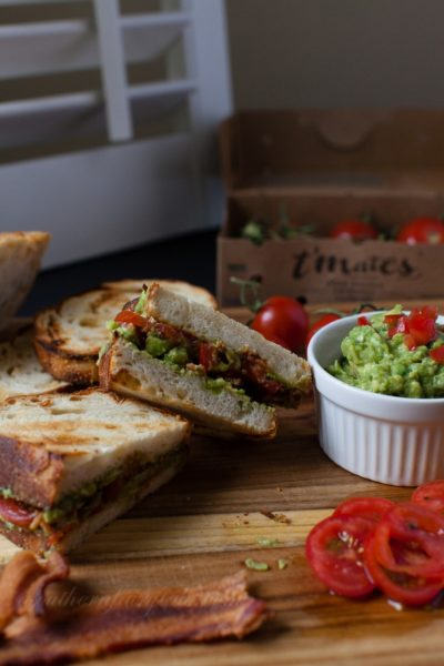 Toasted Bacon, Guacamole, Tomato Sandwich on Asiago Cheese Bread