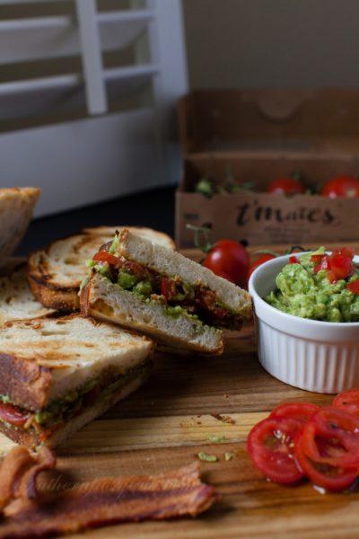 Toasted Bacon, Guacamole, Tomato Sandwich on Asiago Cheese Bread
