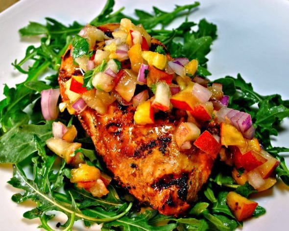 Soy Citrus Marinated Grilled Chicken with Summer Fruit Salsa