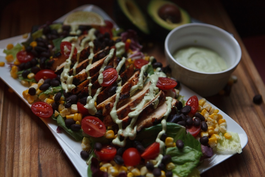 southwestern grilled chicken salad with avocado buttermilk ranch dressing