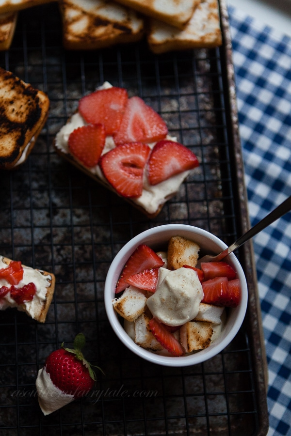 grilled strawberry shortcake with homemade amaretto brown sugar whipped cream