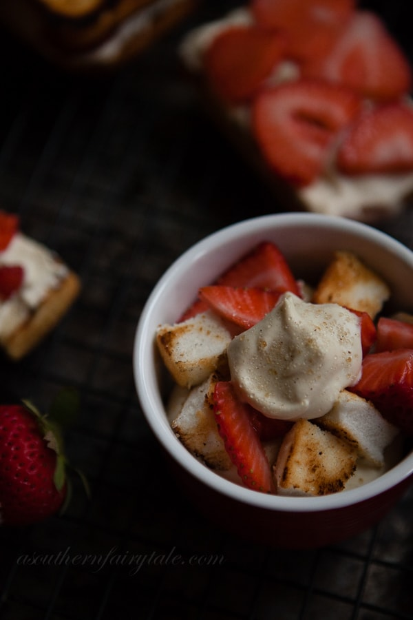 Brown Sugar Amaretto whipped cream topped grilled strawberry shortcakes
