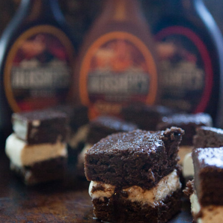Brownie Ice Cream Sandwiches with Hershey's Syrup