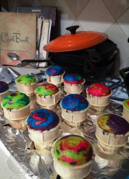 tie dye cupcake cones