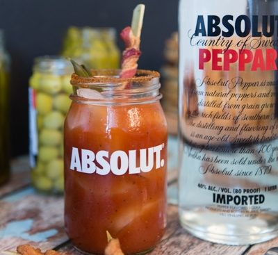 spicy bloody mary with bacon and spicy green beans