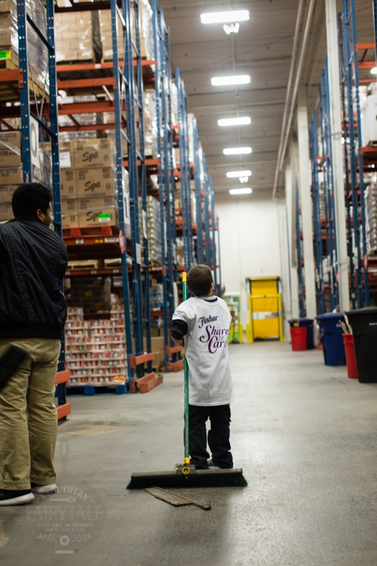 sweeping up at the houston food bank