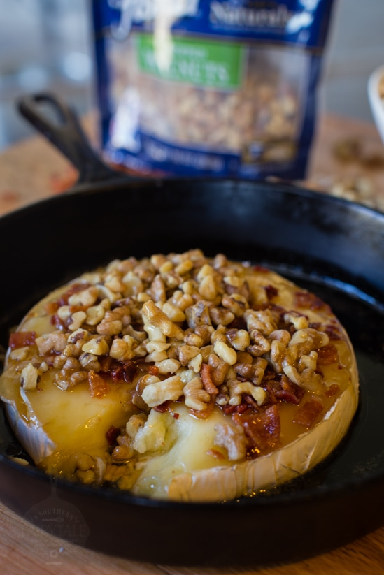 Honey and Walnut Baked Brie with bacon