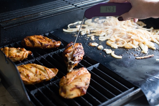 temping the barbecue grilled chicken for the grilled barbecue chicken and caramelized onion pizzas