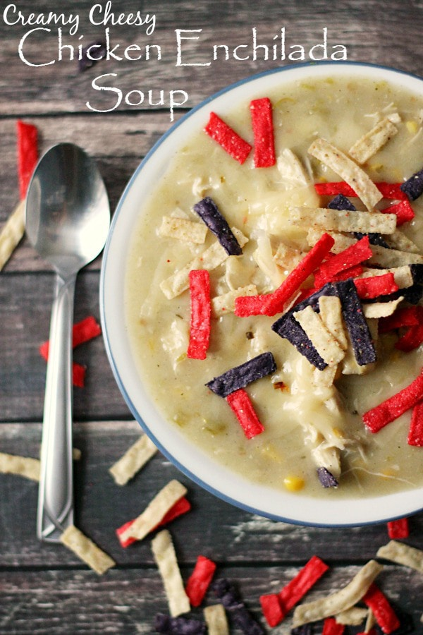 Creamy Cheesy Chicken Enchilada Soup by Life With The Crust Cut Off