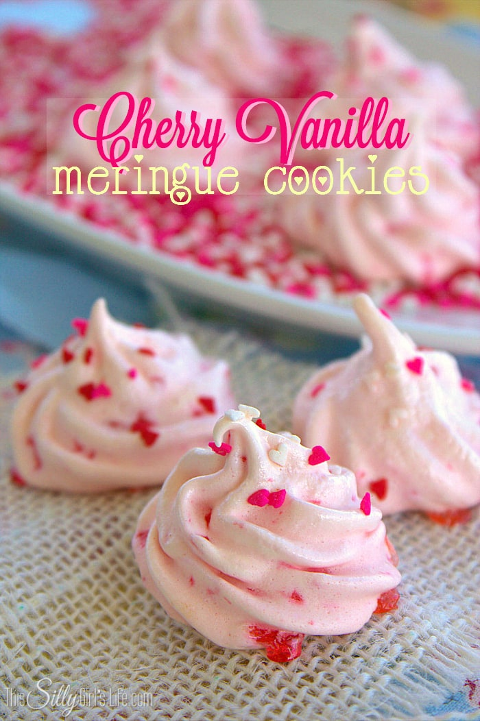 Cherry Vanilla Meringue Cookies from This Silly Girl's Life
