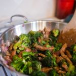 Beef and broccoli stir fry veggies simmering in the wok