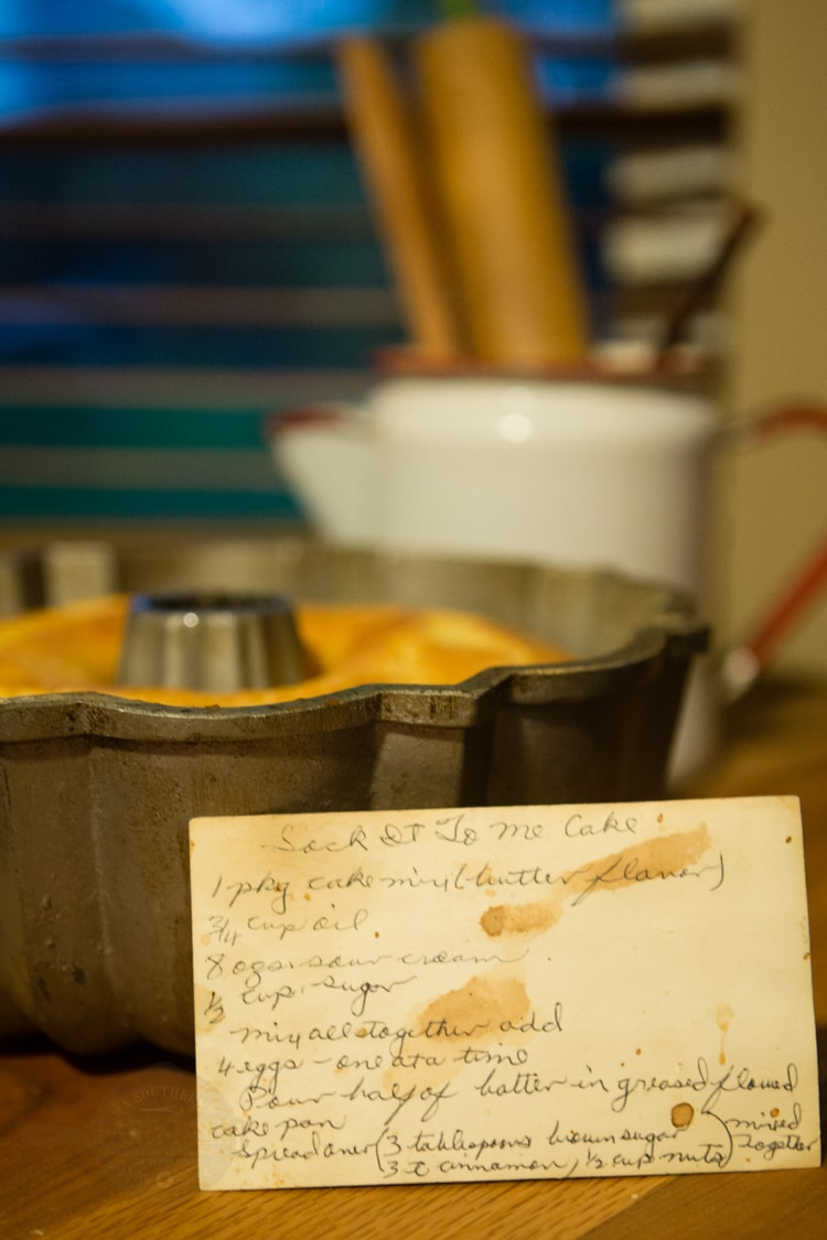 Granny's Handwritten Sock it To Me Cake Recipe Card
