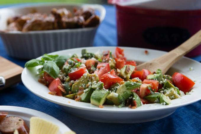 The Bacon, Blue Cheese, Basil, Avocado, Tomato Summer Salad