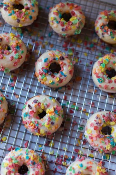 fruity pebble glazed fruity pebbles cereal milk doughnuts
