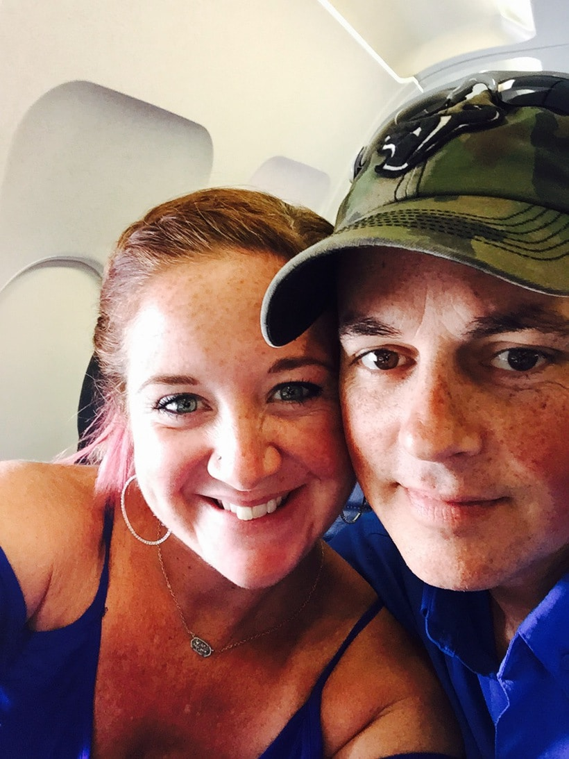Nathan and Me on the plane ready for Carnival Cruise