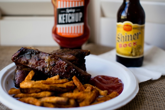 Texas Ribs with Sweet Potato Fries and Whataburger Spicy Ketchup