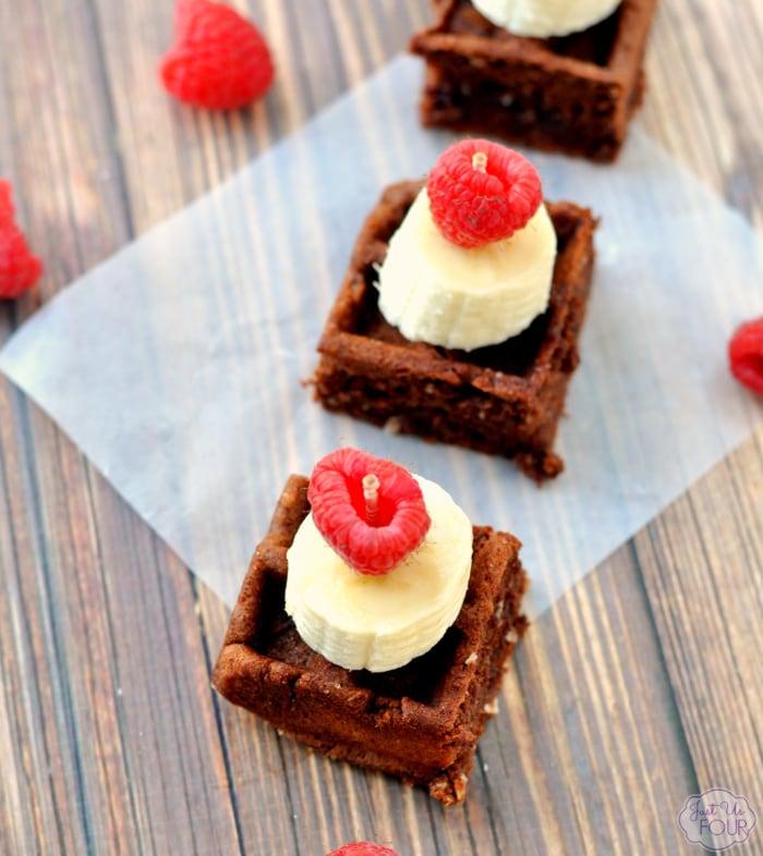 mini chocolate waffle fruit bites