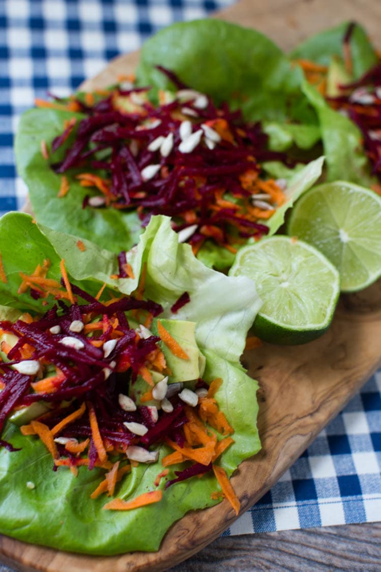 avocado, beet, carrot salad wraps | A Southern Fairytale
