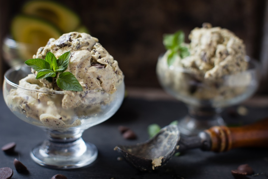 creamy, cool, rich, and delicious california avocado mint chocolate chip ice cream